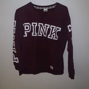 PINK Sweatshirt Maroon-Women's Medium